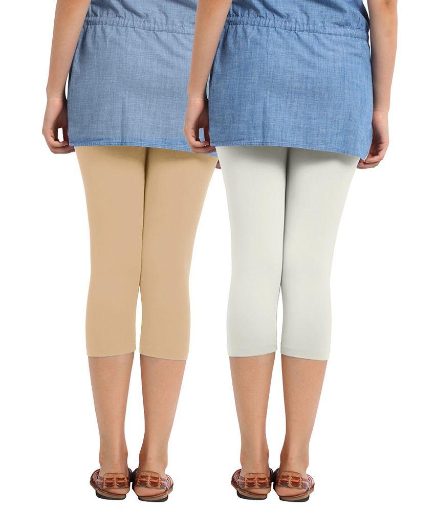 Buy Cotton Capri Leggings Pack Of 2 Beige And Half White Online at ...