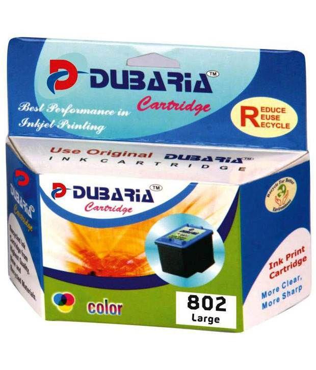 Dubaria Black Single Cartridge for 802 XL Tricolour Ink Cartridge For HP