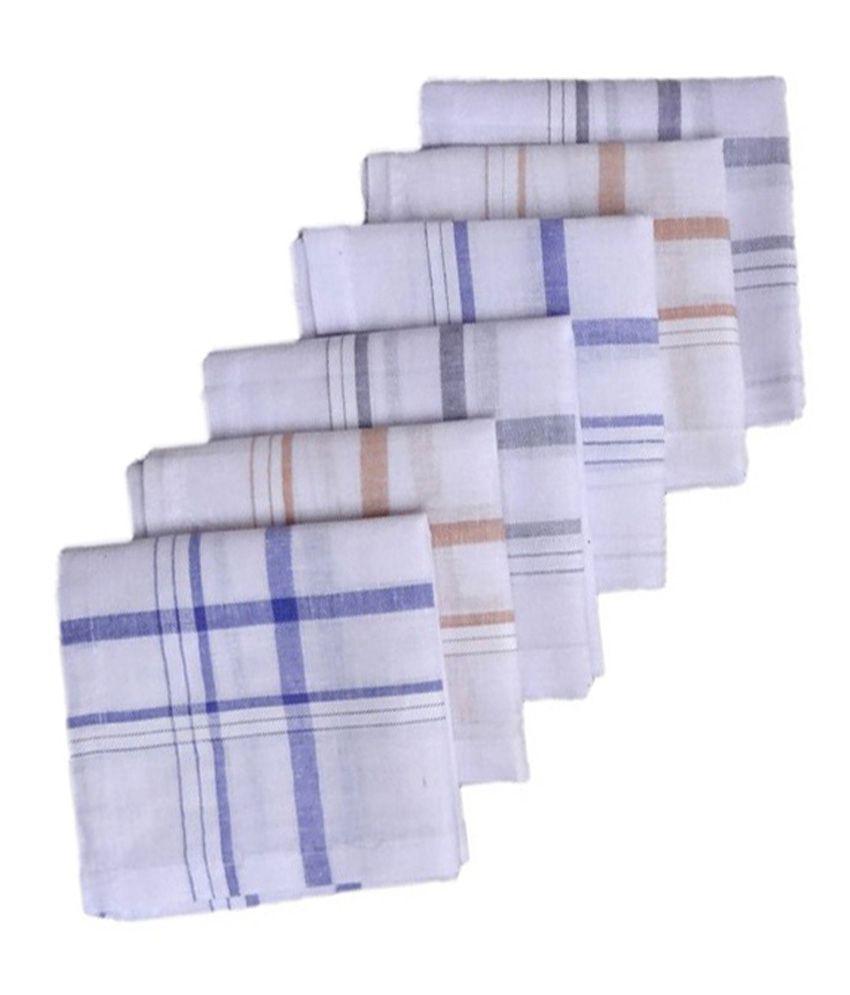 Oshop Trades Multicolor Assorted Design Handkerchief For Men - Set Of 6