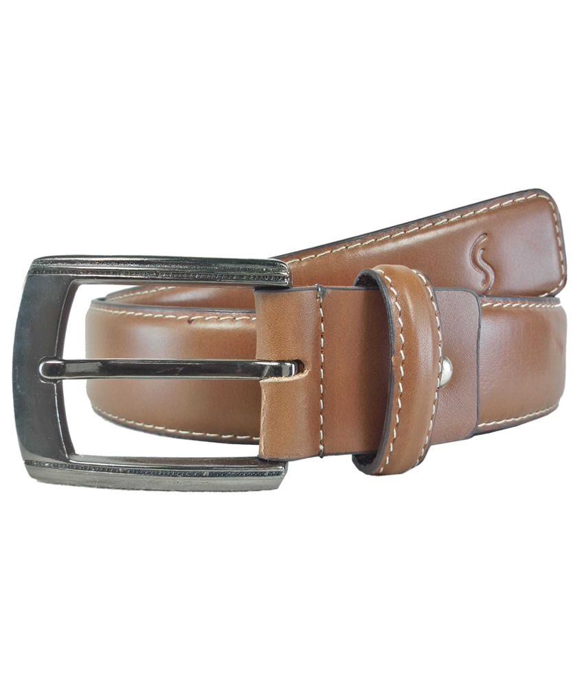 Sizzlers Tan Leather Formal Belt For Men
