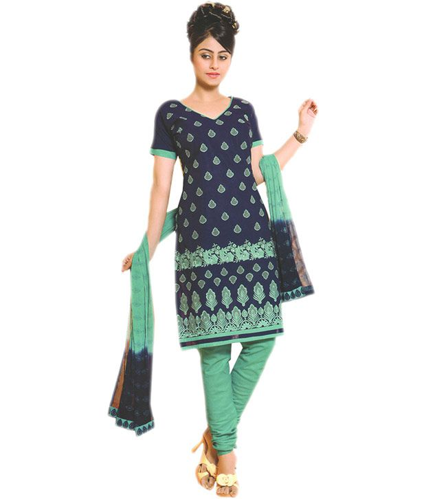 Divisha Fashions Navy Cotton Unstitched Dress Material