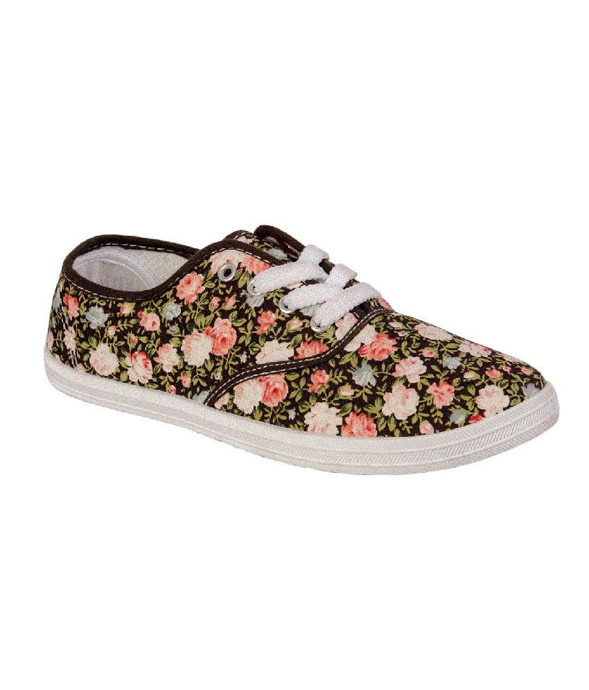 Khadim's Floral Brown Lace up Fashion Sneaker Sports Shoes