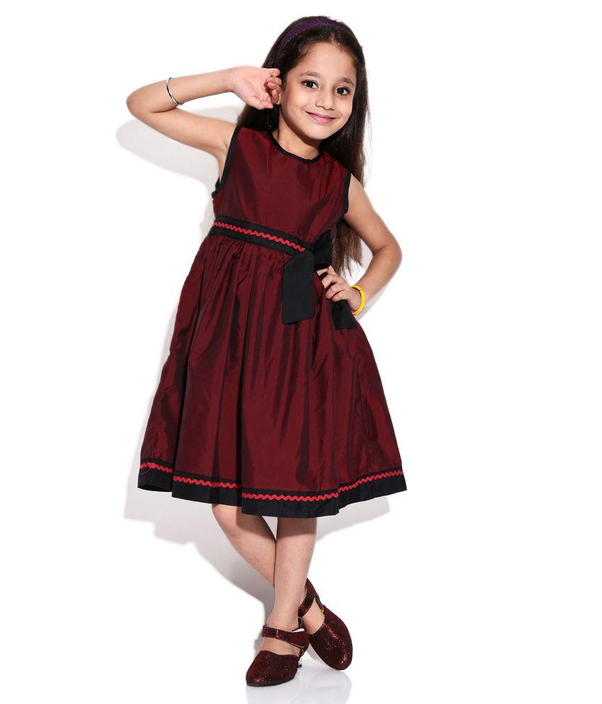 387e9fd55cfb ShopperTree Maroon Black Party Wear Frock For Kids - Buy ShopperTree ...