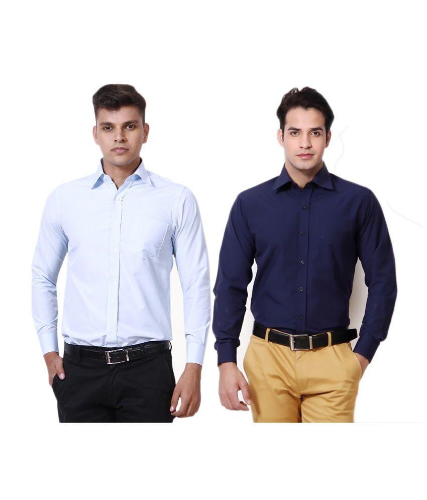 Yuva For Men Multicolour Cotton Blend Casuals Shirts Combo Of 2