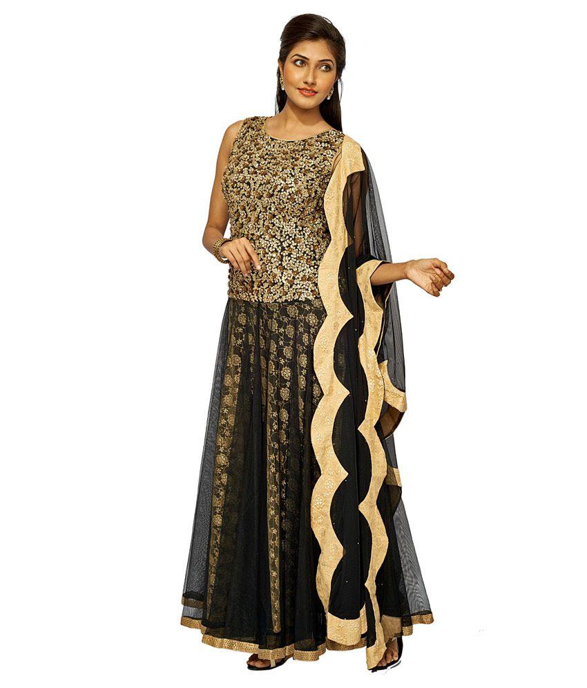 Sangeet Fashion Black Embroidered Net Stitched Floor Length Anarkalis Salwar Suit