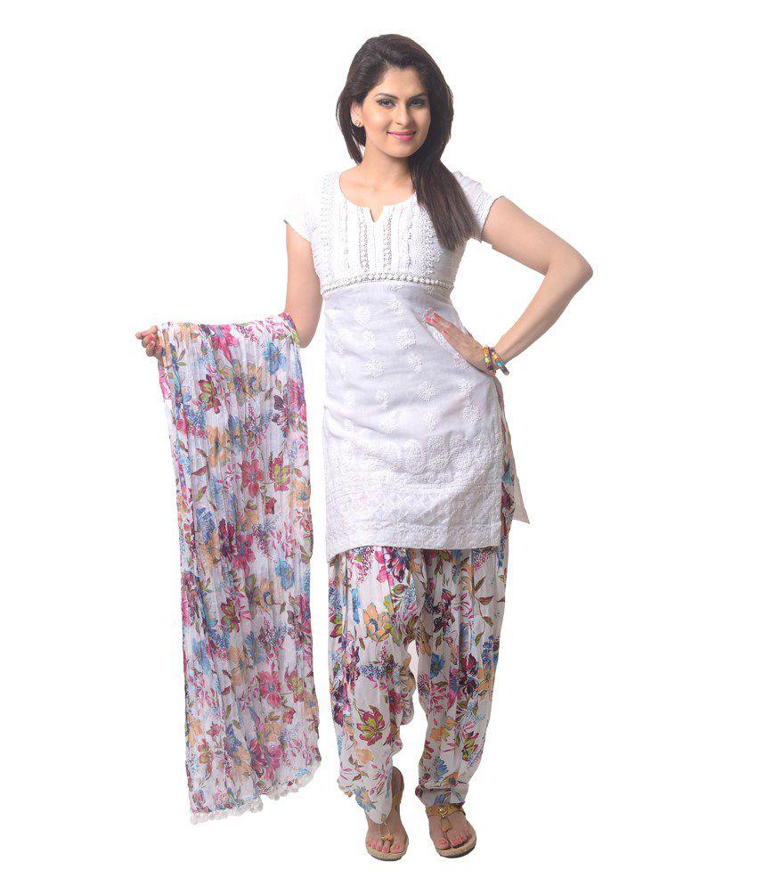 06b8c3be18 Stri White And Pink Cotton Printed Patiala Salwar and Dupatta Set Price in  India - Buy Stri White And Pink Cotton Printed Patiala Salwar and Dupatta  Set ...