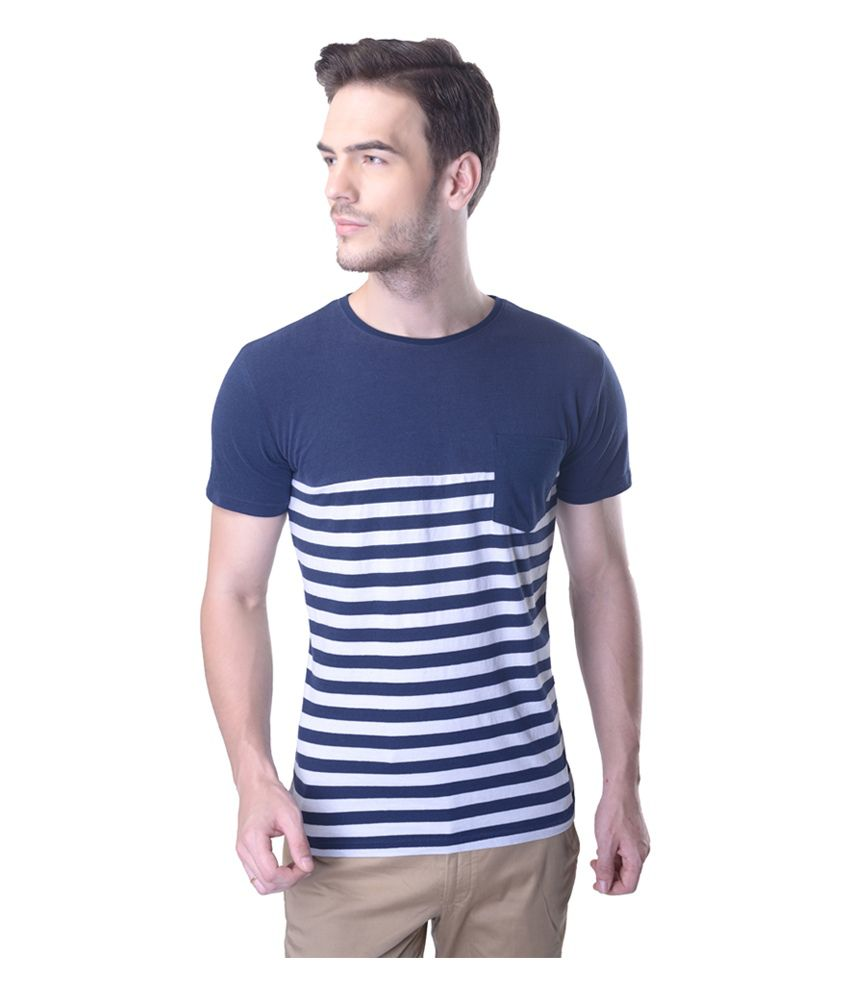 Carve Blue Cotton Stripers Round Neck T Shirt