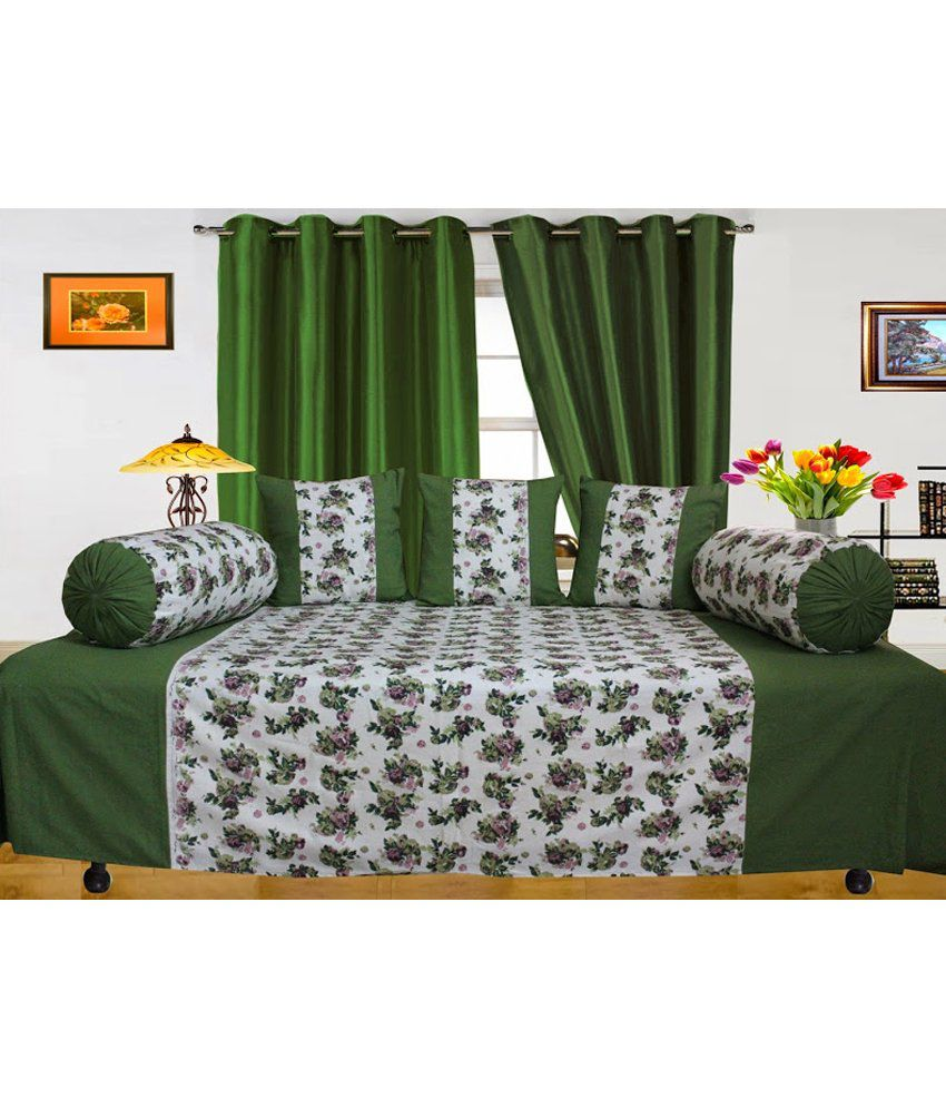 Dekor World Green And White Floral Cotton 1 Diwan Sheet, 3 Cushion Covers And 2 Bolster Covers