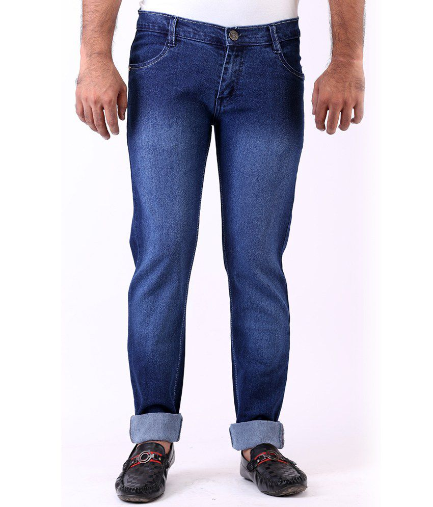 Haltung Faded Streachable Blue Men Denim Jeans
