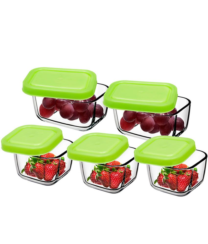Pasabahce Glass Snow Box Set Storage Container With Lids set Of 5