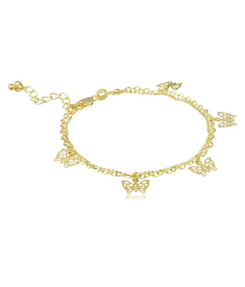 18 KT Gold Plated Anklets With Butterfly Charms by GB Jewellery