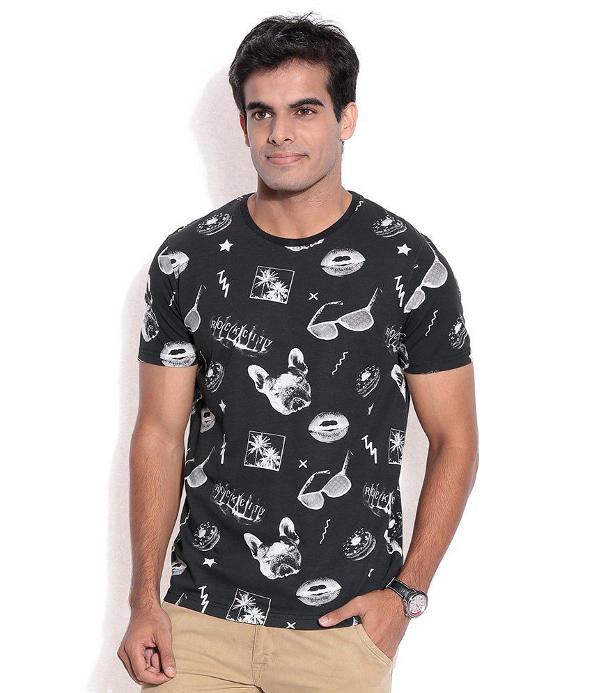 Jack & Jones Black Polyester T-Shirt