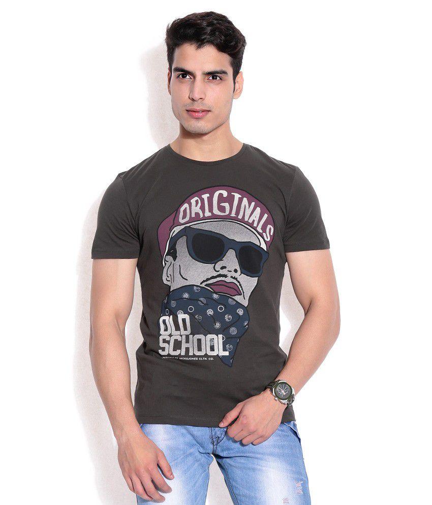 Jack & Jones Black Cotton T-Shirt