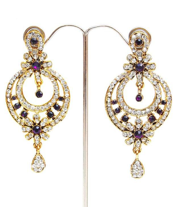 Lucky Jewellery Purple Stone Earring