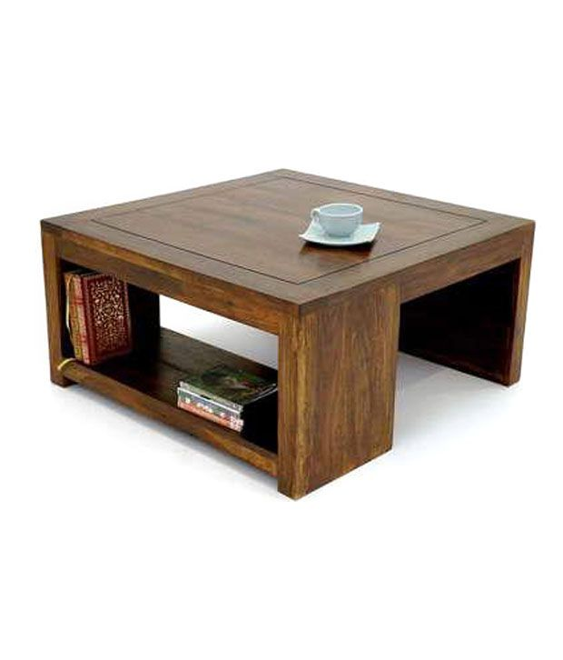 Solid Wood Coffee Table Online India: Solid Wood Square Coffee Table