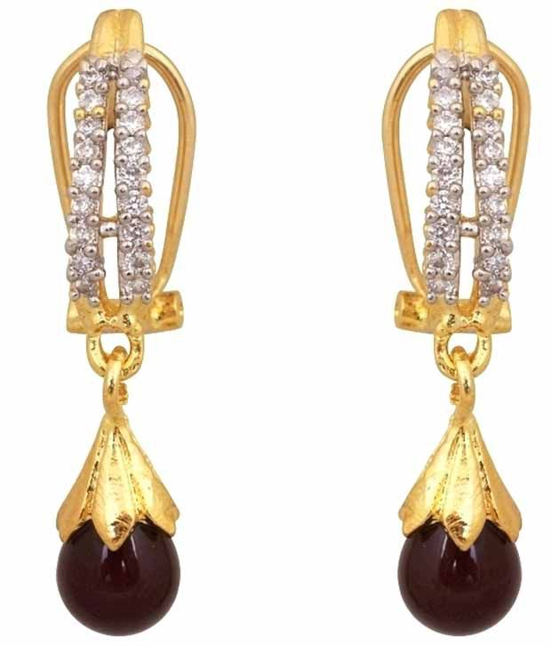 Royal Bling Maroon Hanging Earrings