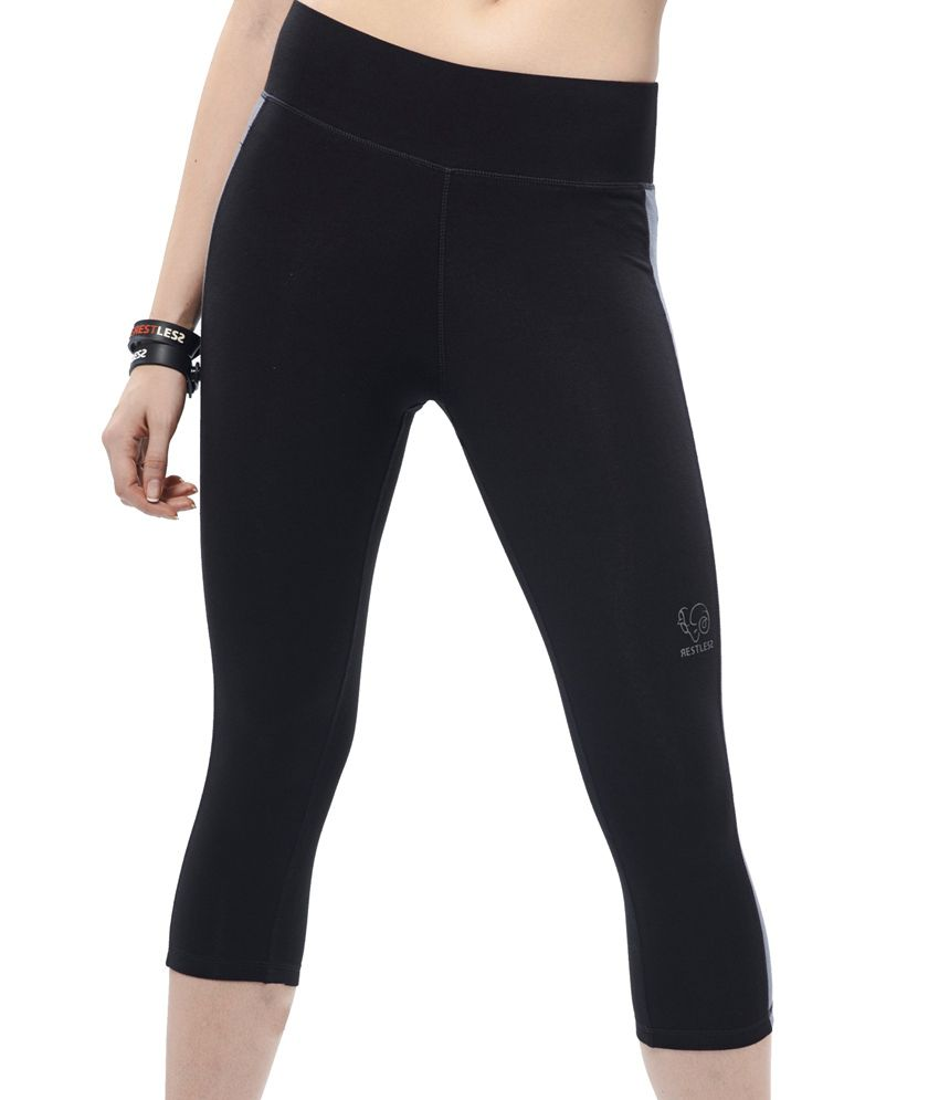 Restless Black/Grey Capri (Cotton Lycra)