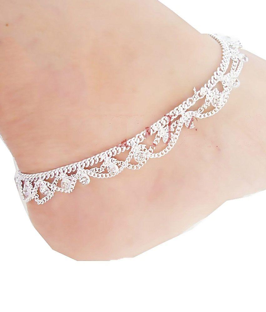 Rituals German Silver Cz Diamonds Anklets