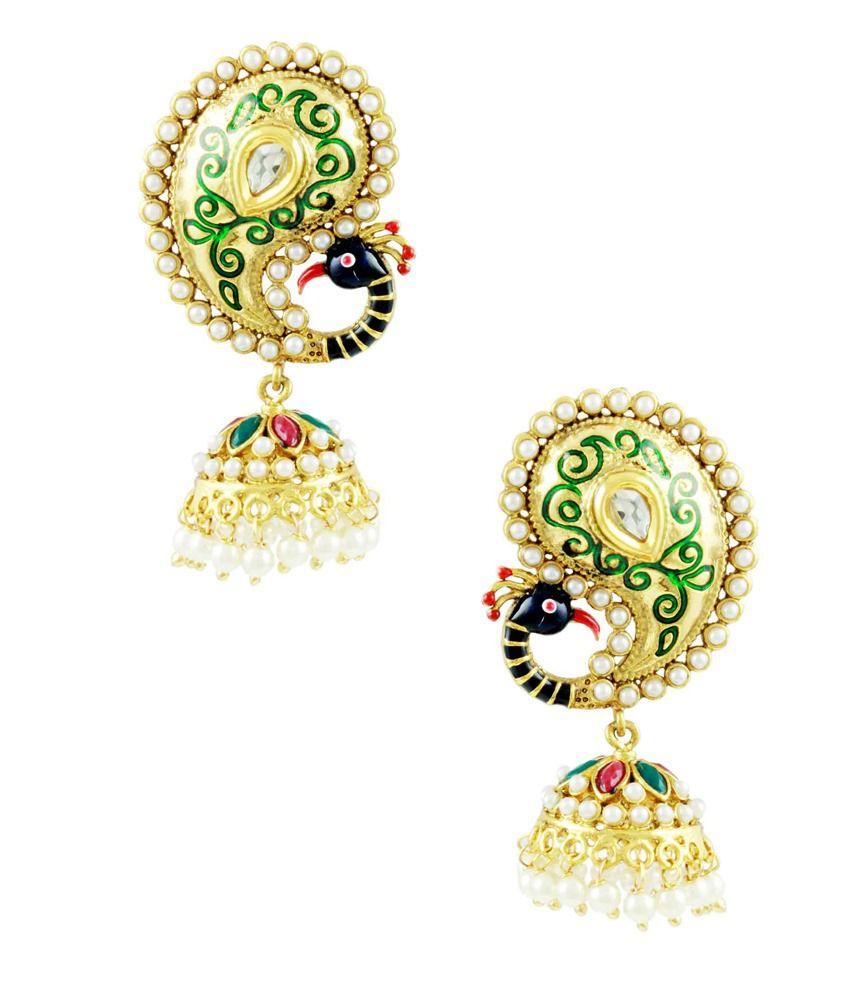 Orniza Rajwadi Peacock Earrings in Ruby & Emerald Color with Enamel Work