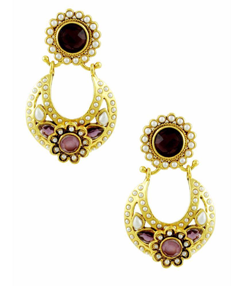 Orniza Pear Shaped Rajwadi Earrings in Rhodolite Color