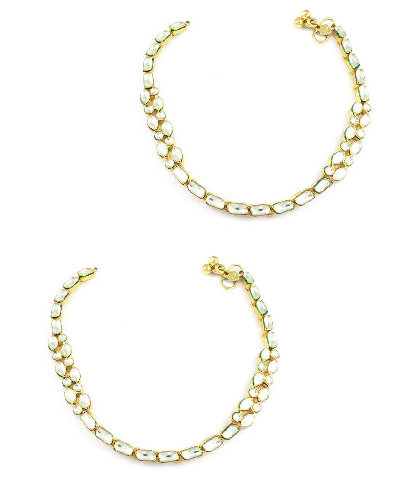 Orniza Single line Payal in white kundan stones