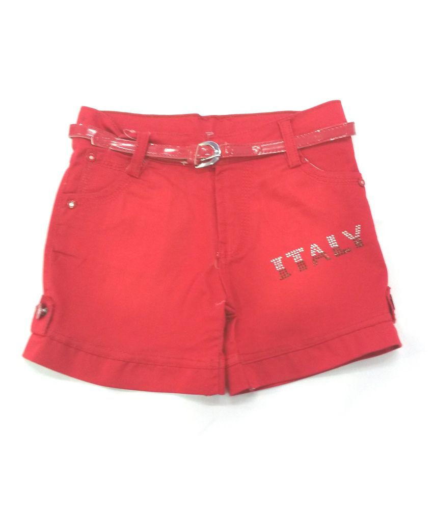 4s Red Cotton Shorts