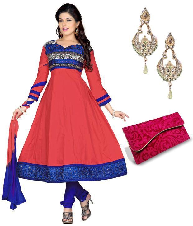 Cotton Bazaar Red Cotton Unstitched Dress Material