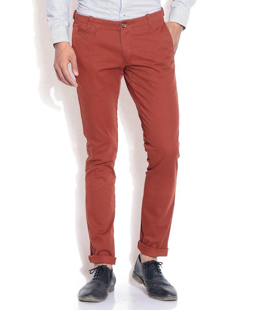 John Players Red Slim Semi Formals Trousers
