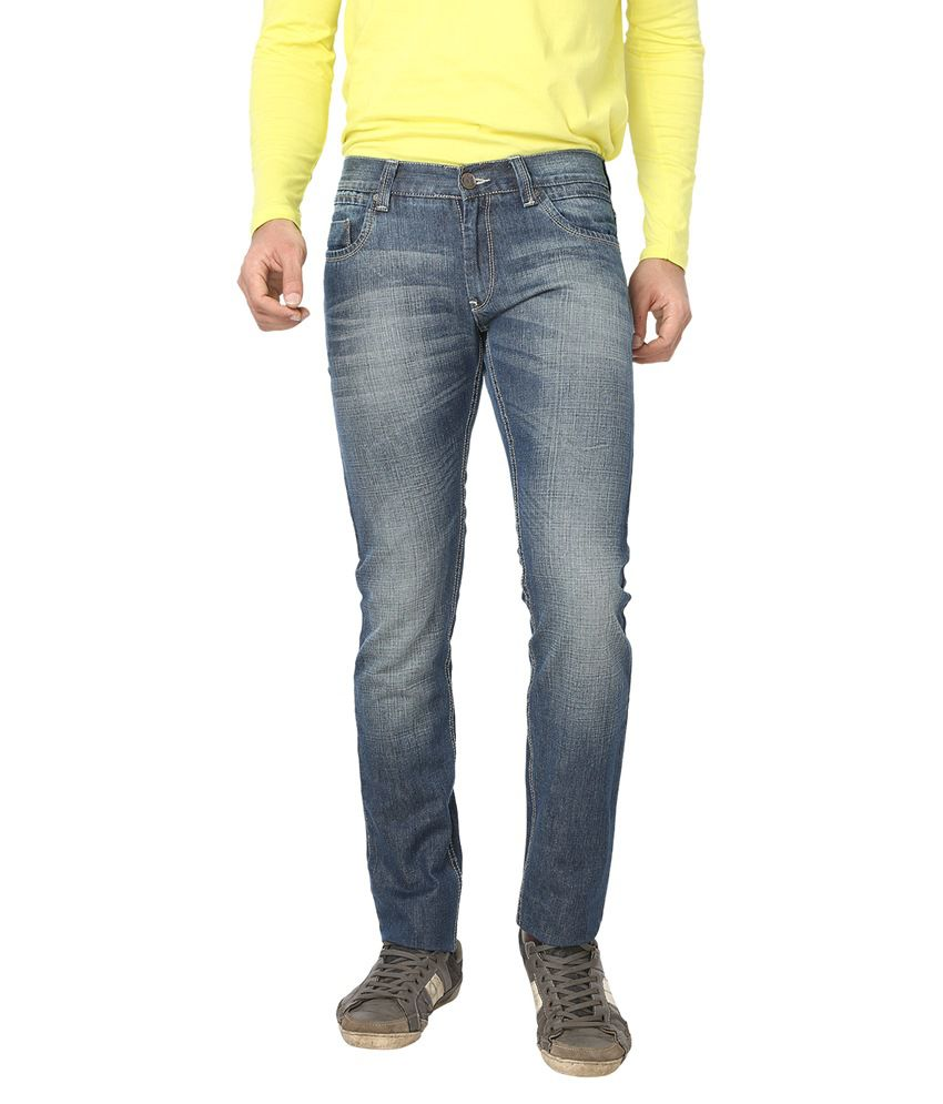 Live In Blue Cotton Regular Faded Mid Jeans