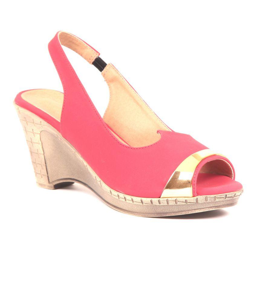 Adorn Pink Wedges Sandals