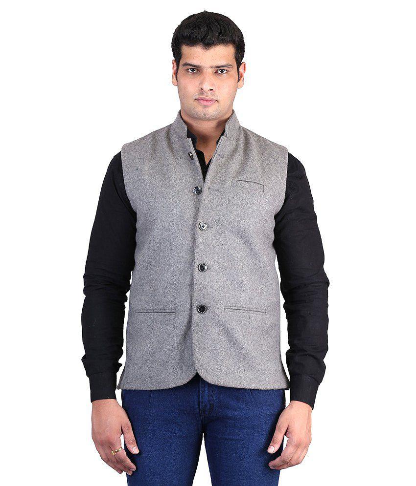 Asst Gray Woollen Formal Nehru Jacket