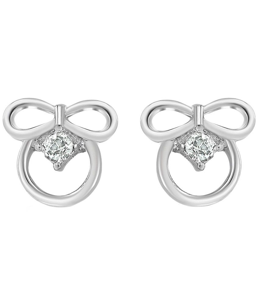 Mahi Daily wear Fashion Rhodium Plated Oozing Beauty Earrings of Brass Alloy with Crystal for Women ER1103702R