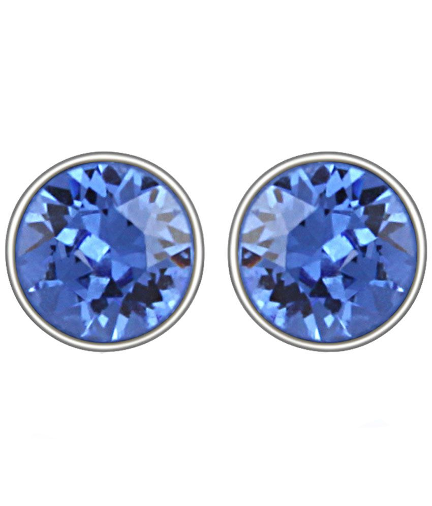 Mahi Rhodium Plated Blue Bolt Earrings Made with Swarovski Elements for Women ER1104083RBlu