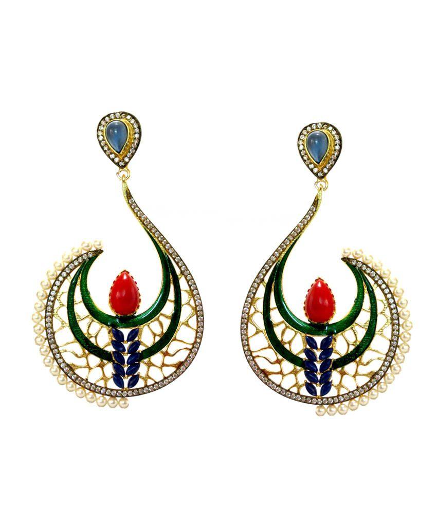 Daamak Style Diva Festive Green Enamel Work Pearls Earrings