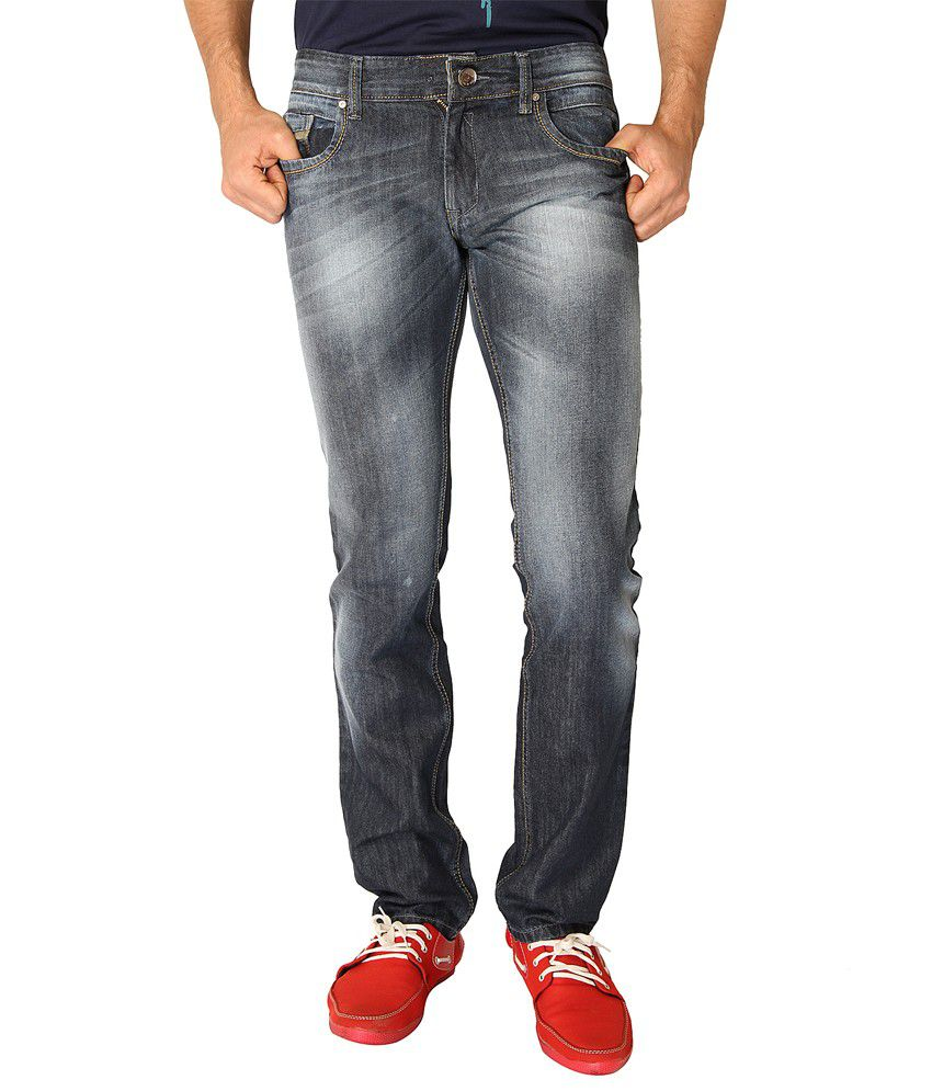 Live In Blue Cotton Slim Fit Faded Low Jeans