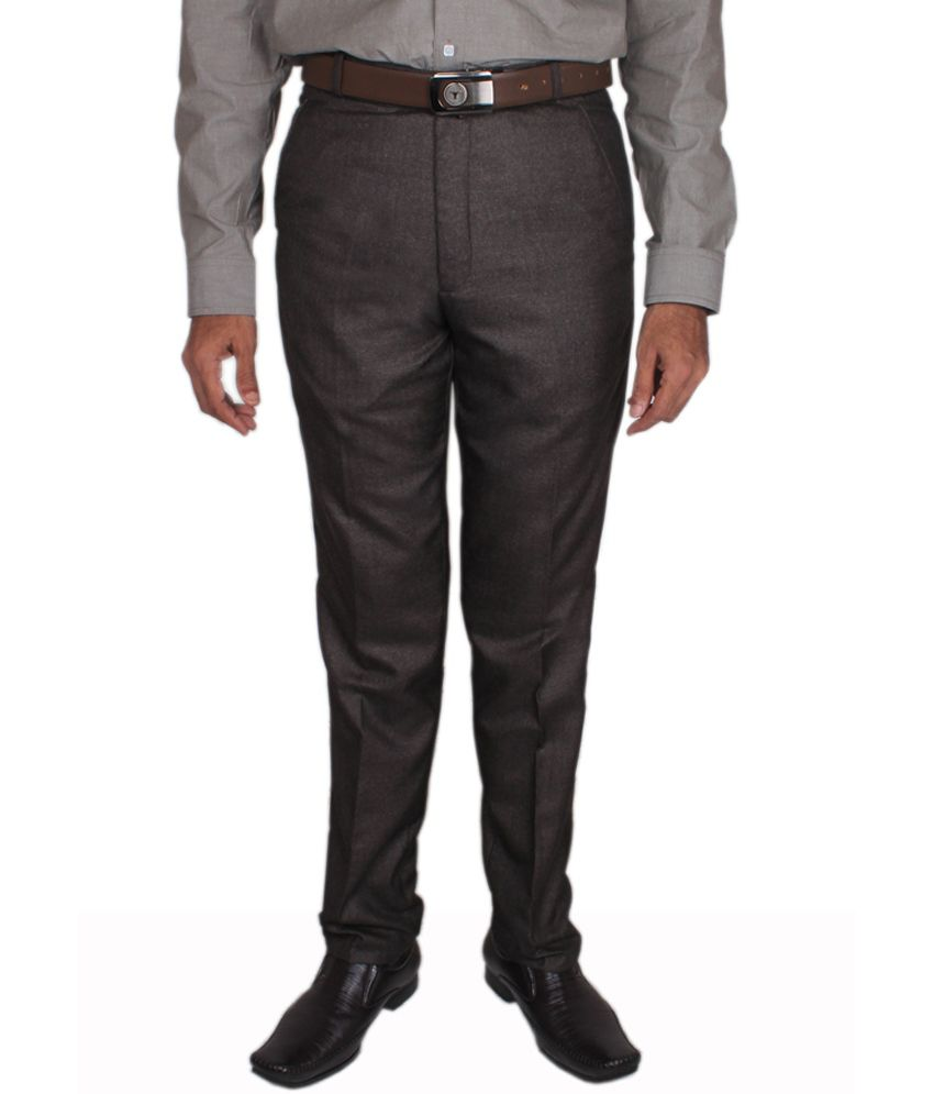Maharaja Design Dark Brown Men's Formal Trouser