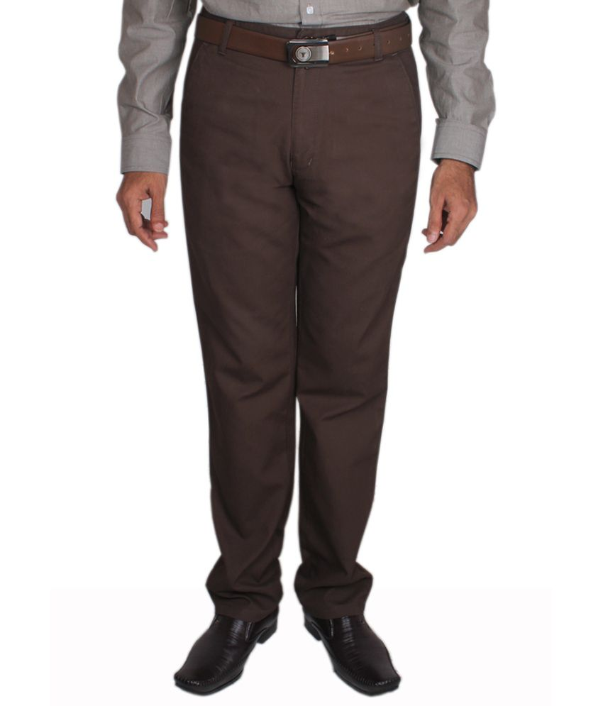 Maharaja Solid Brown Men's Semi Formal Trouser