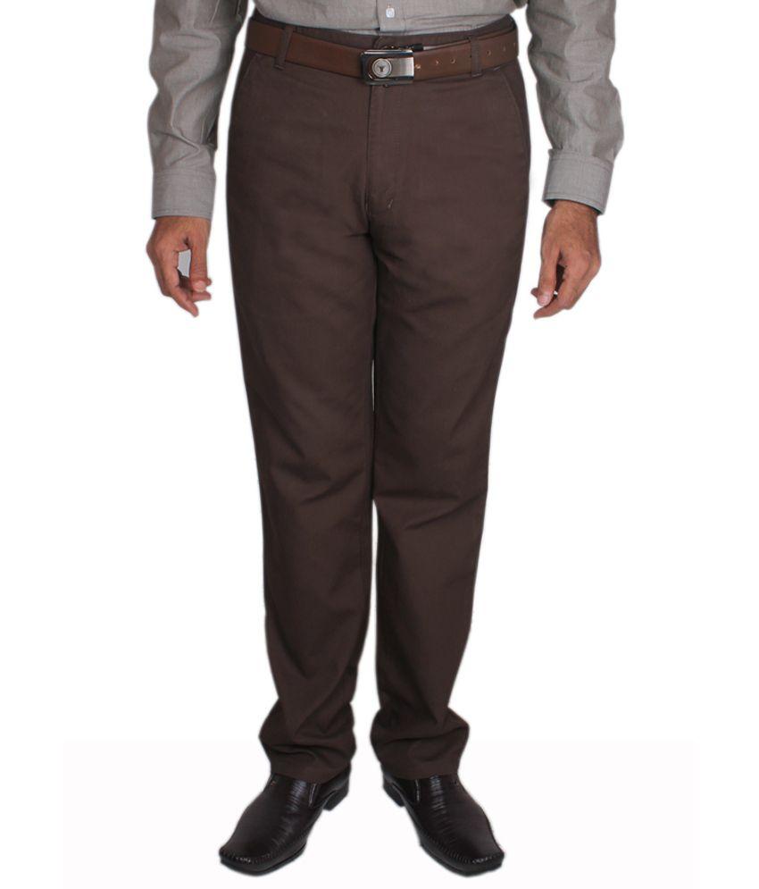 Maharaja Solid Brown Men's Semi Formal Trouser