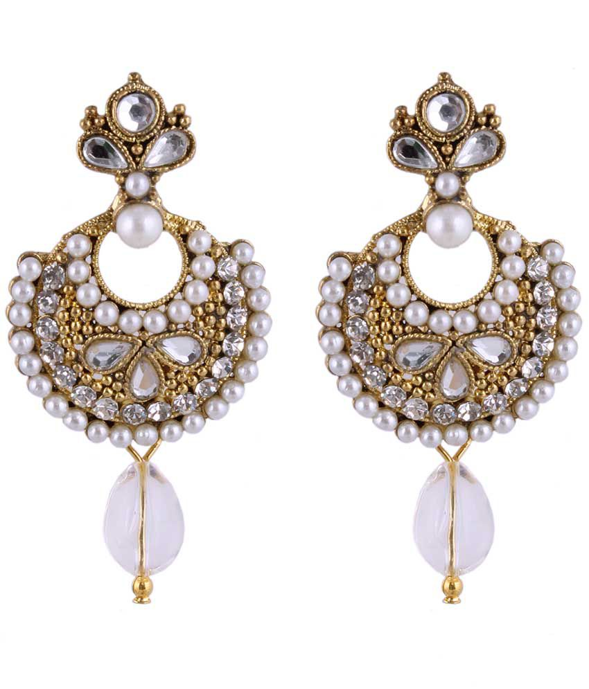 Sp Jewellery White & Golden Crystal Hanging Earrings