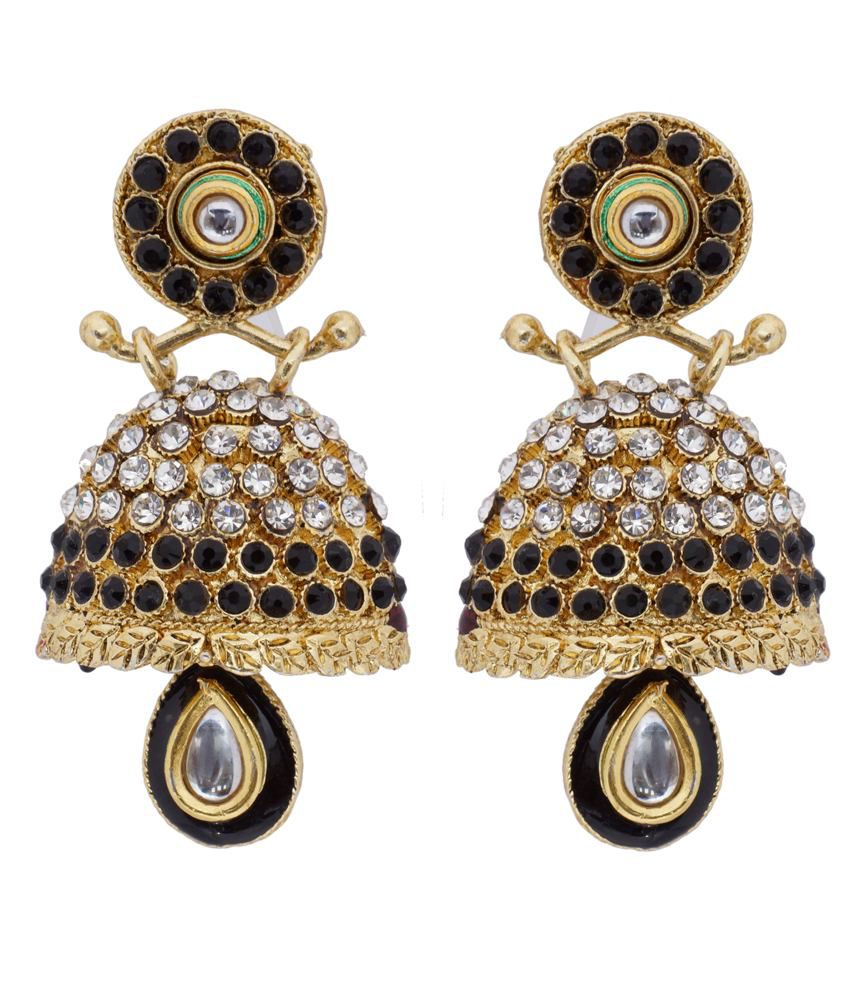 Abhushan Hyderabadi Abhushan Round Shaped Double Sided Earrings With Black And Green Color