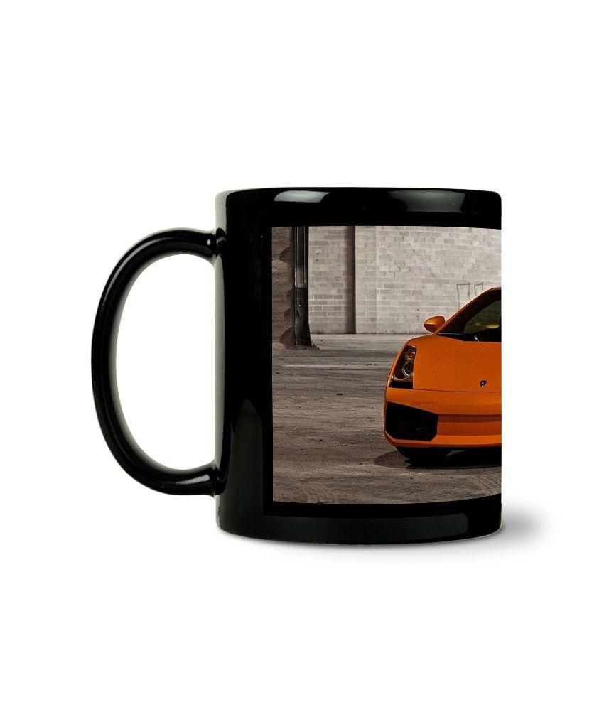 Bluegape Orange Speed Car Black Mug