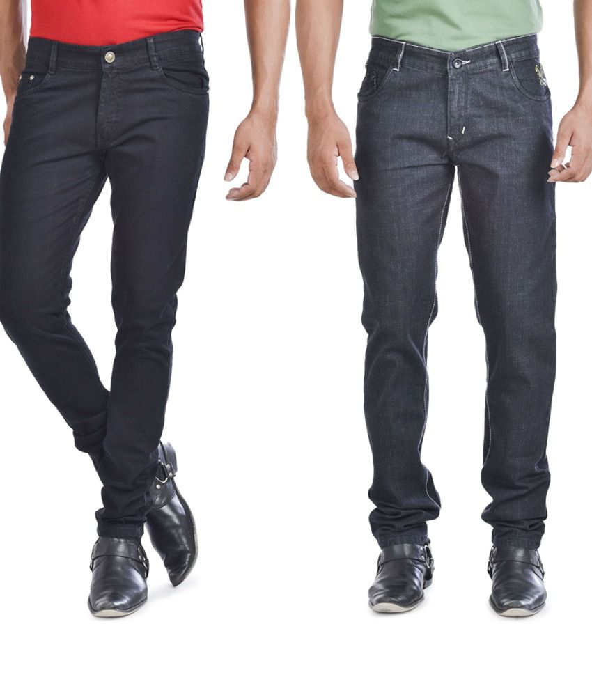 Trendy combo of Regular Fit Black Jeans and Slim Fit Blue Jeans