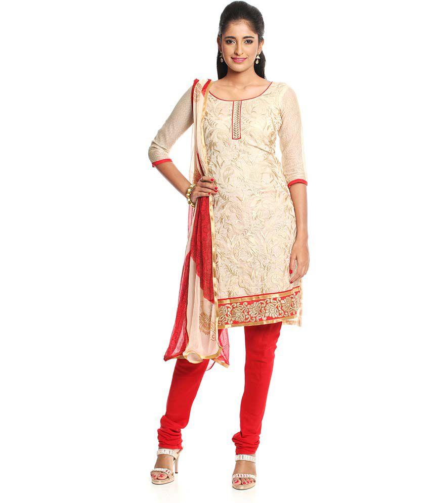 Soch Beige Embroidered Chanderi Dress Material