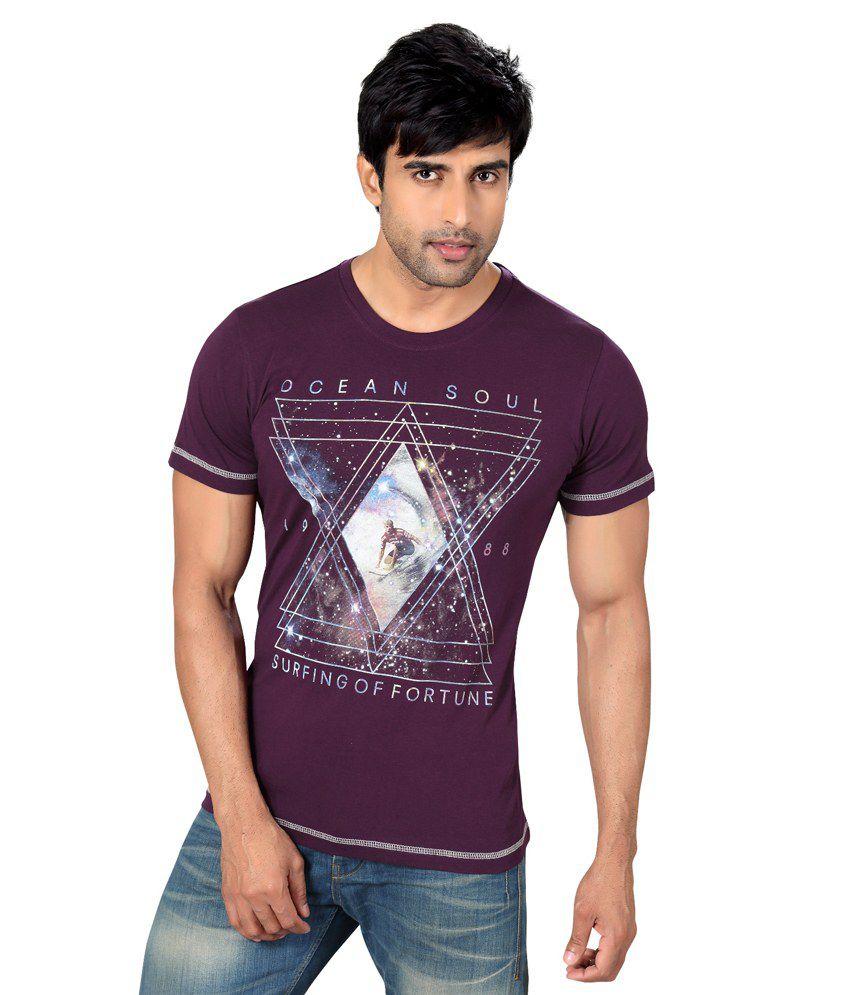 Astron Stylish Purple Round Neck Sinker Half Sleeves Printed Tshirt For Men | Astm2p006