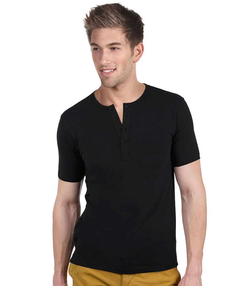 Blackburne Inc Black Half Cotton Henley T-shirt