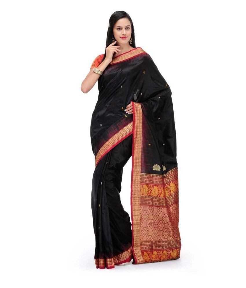 Fabroop Black Banarasi Saree With Blouse Piece