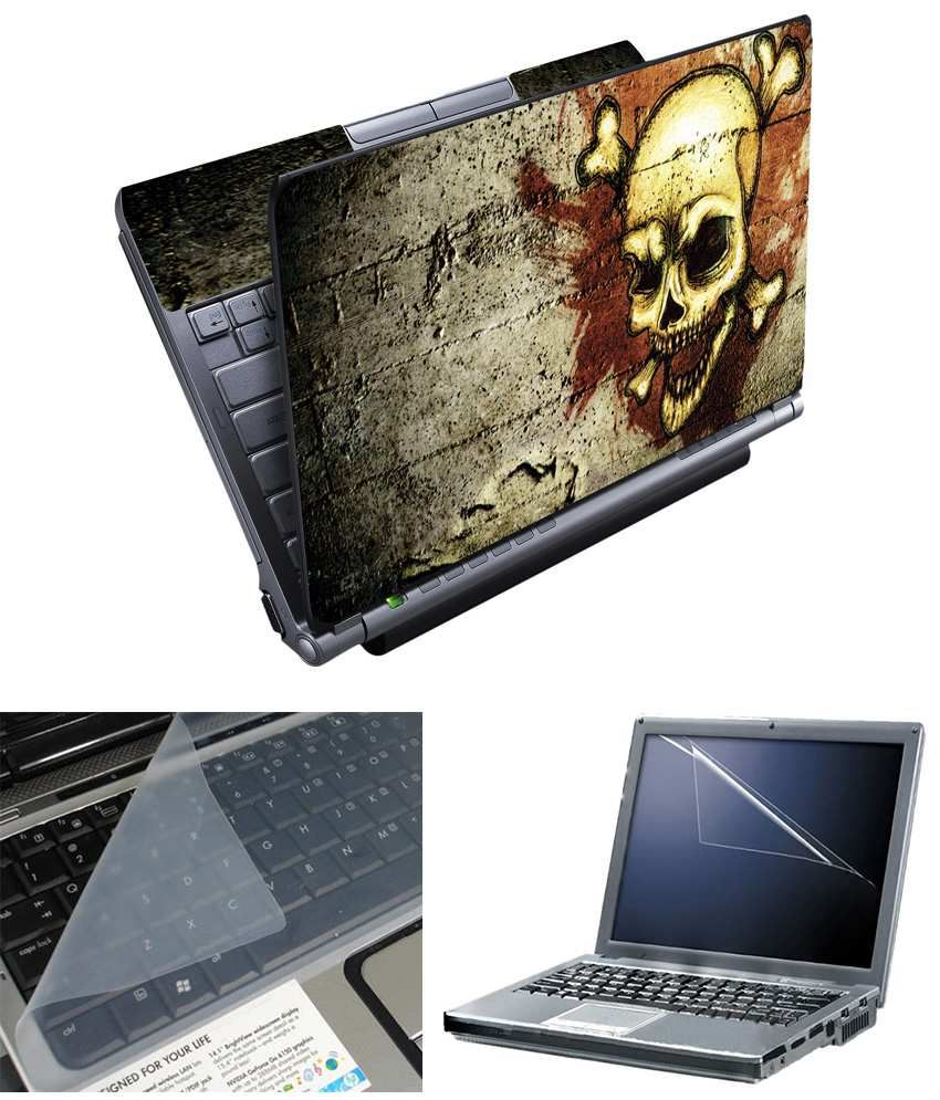 Finearts Full Panel Textured Laptop Skin Danger Printed With Screen Guard And Keyboad Protector