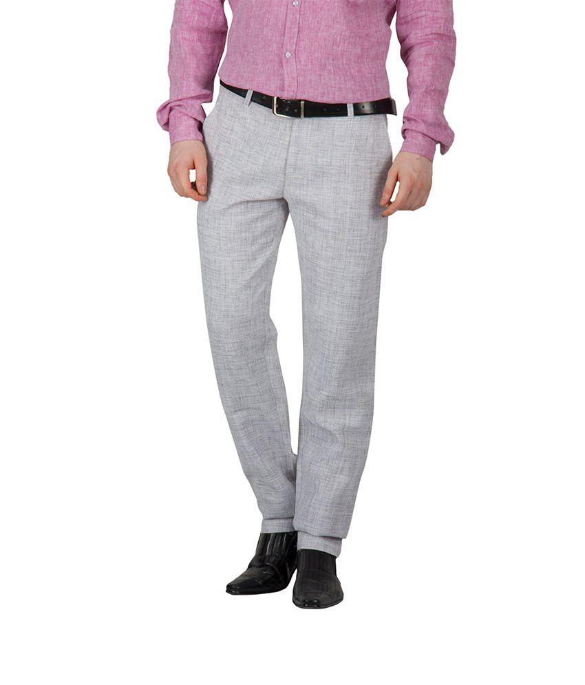 Ghpc Gray Linen Casuals Men's Chinos