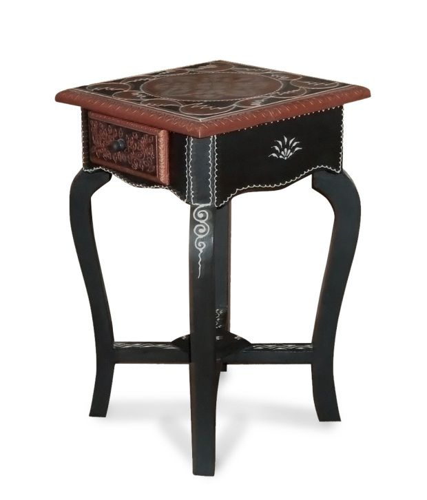 Kings Kraft Black N Copper Painted Wooden Pedestal