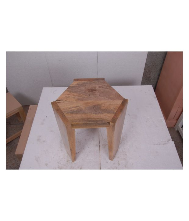 Kings Kraft Natural Tri Pod Wooden Side Table